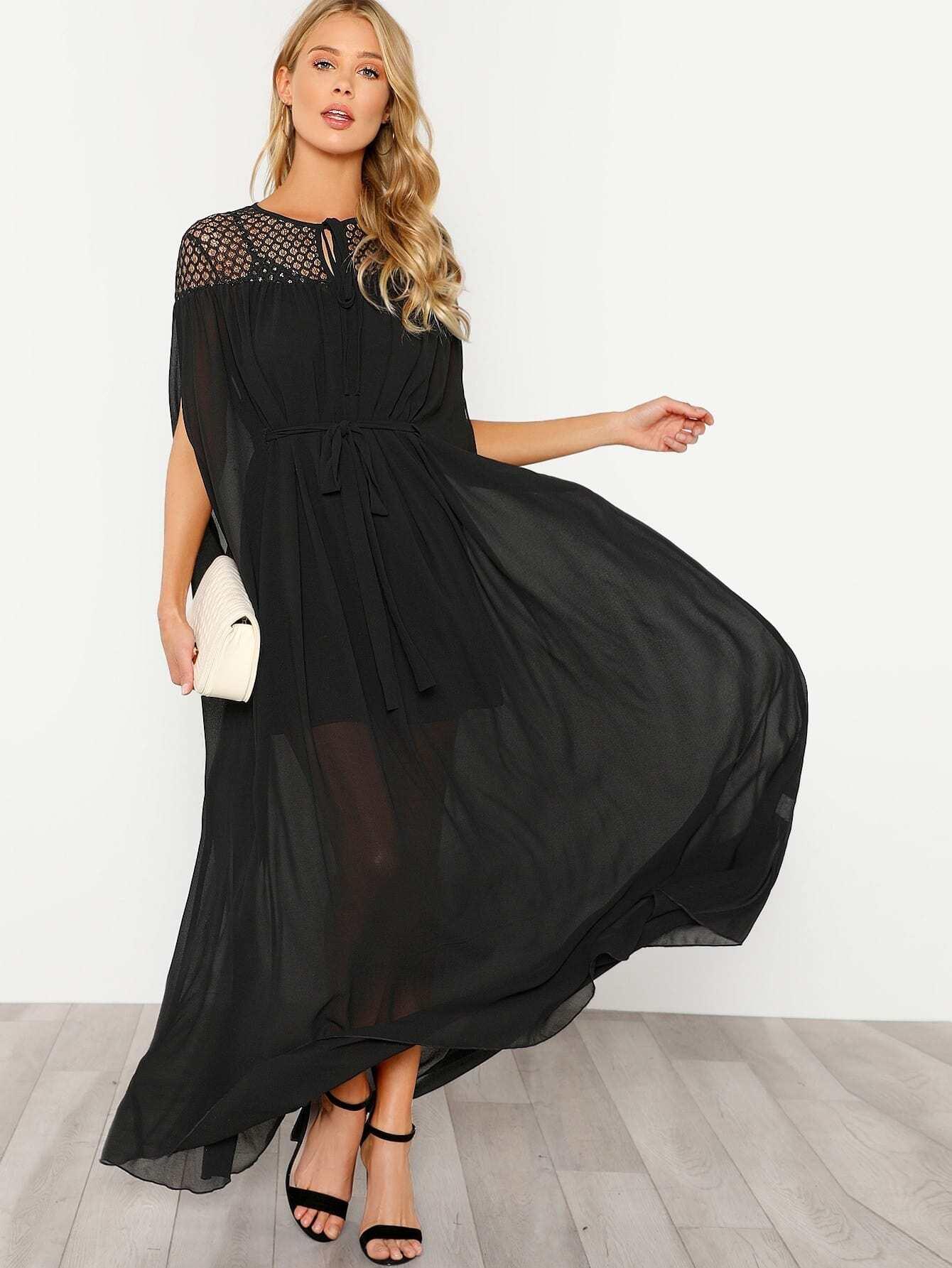Lace Yoke Tie Neck Semi Sheer Tent Dress
