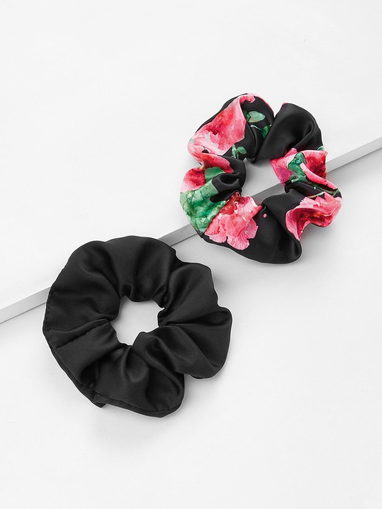 Flower Print Hair Tie 2pcs metallic hair tie 2pcs