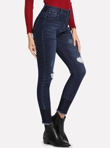 Dark Wash Ripped Detail Skinny Jeans