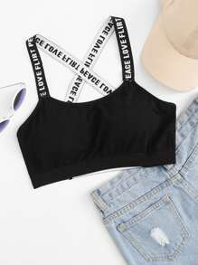 Letter Tape Cross Back Bra