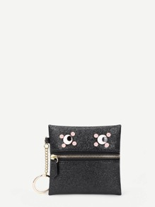 Eye Detail Zipper Front PU Wallet