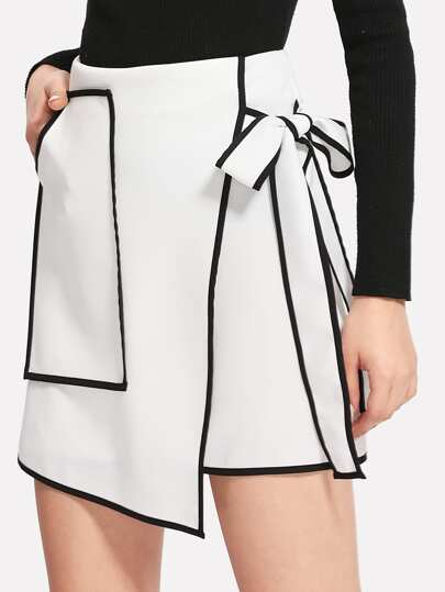 Contrast Binding Bow Tie Wrap Skirt