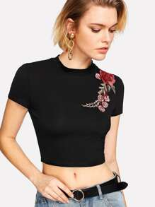 Flower Applique Crop Tee