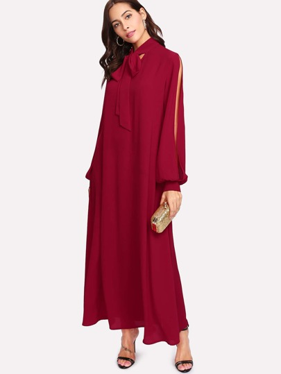 Tie Neck Split Sleeve Hijab Long Dress