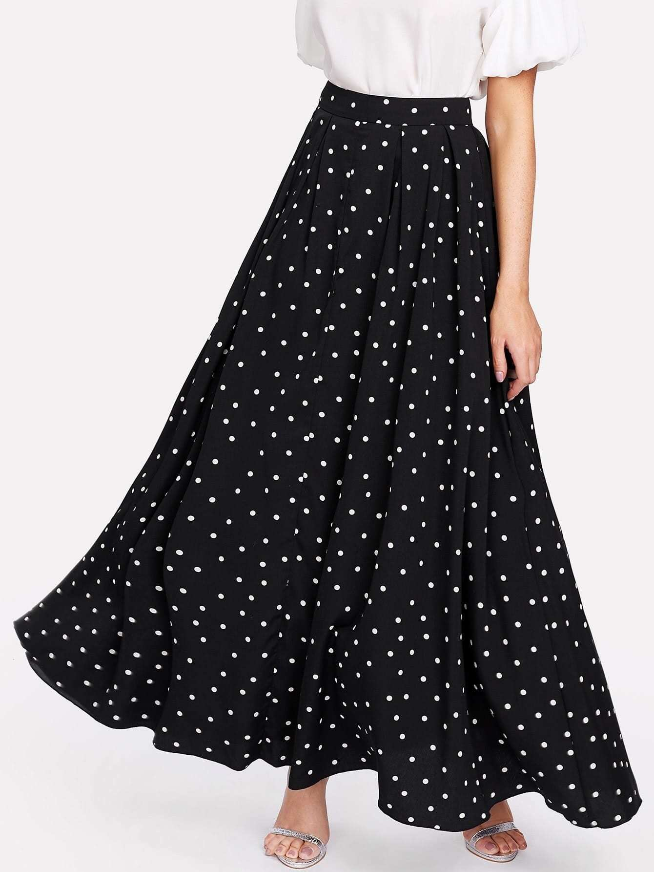 polka dot swing maxi skirt makemechic