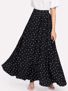 Polka Dot Swing Maxi Skirt