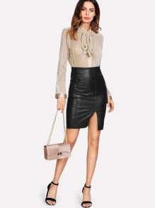 Slit Front PU Skirt