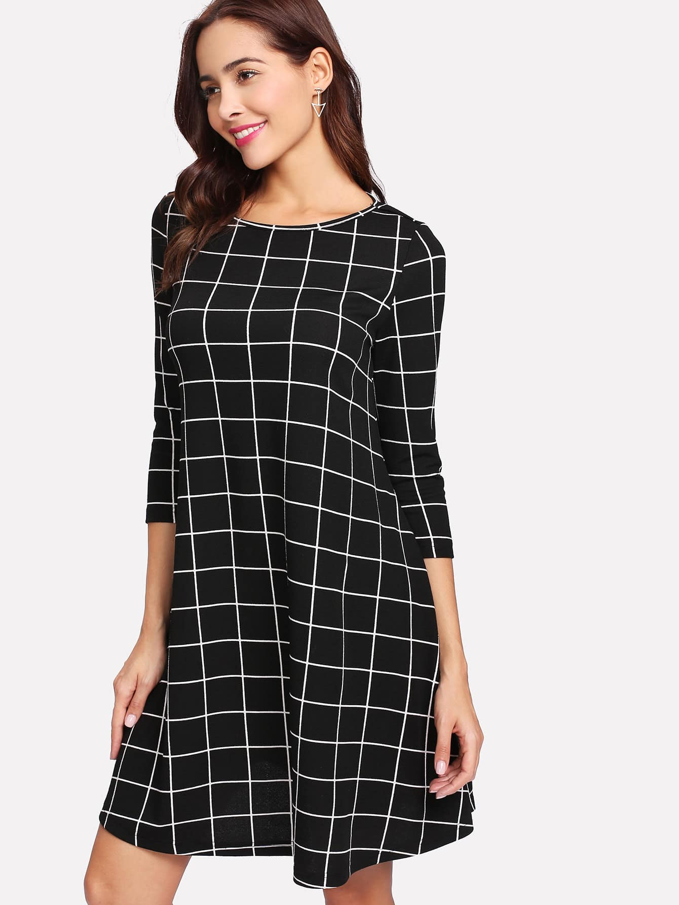 3/4 Sleeve Grid Flowy Dress