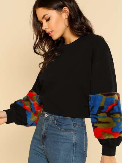 Oversize Multi Color Fur Sleeve Sweater BLACK