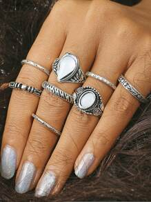 Multi Shaped Ring Set 8pcs