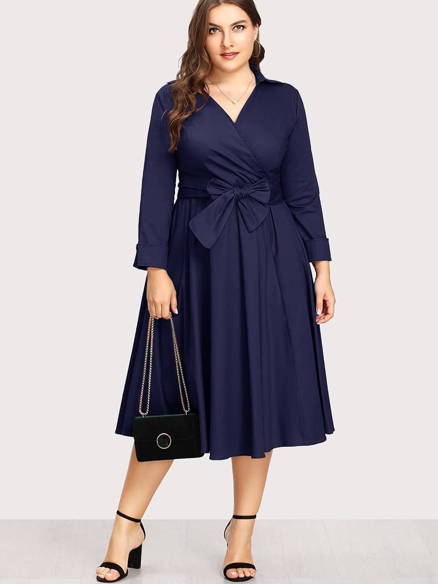 Plus Surplice Neckline Self Tie Circle Dress