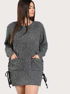 Knitted Long Sleeve Side Lace Up Dress GREY