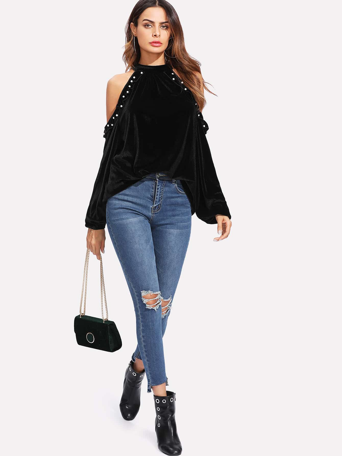 Pearl Beading Open Shoulder Velvet Top pearl beading layered sleeve top