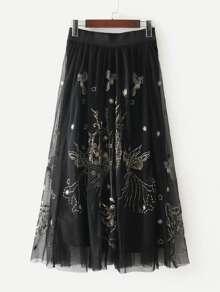 Falda de malla con bordado