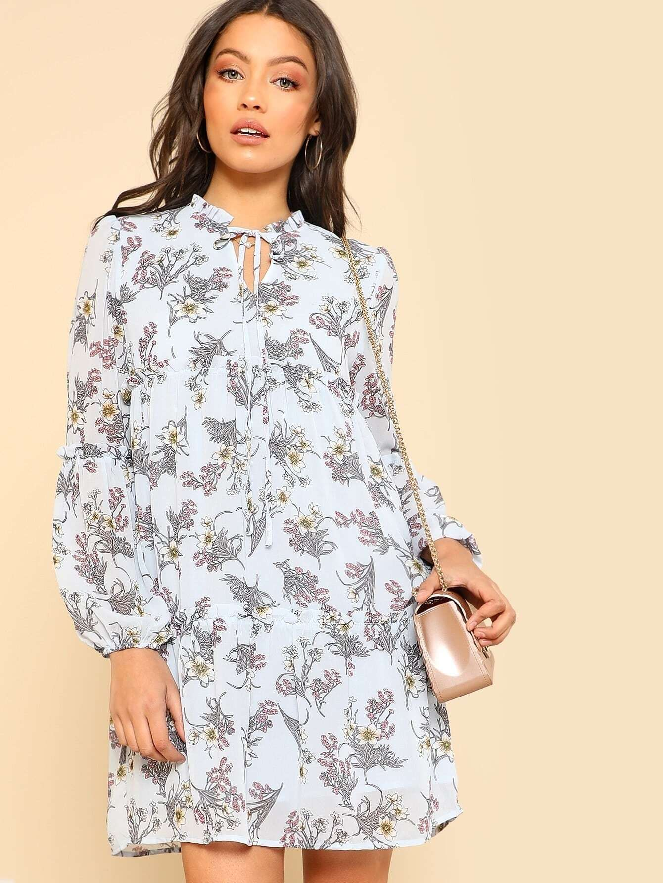 Frill Detail Botanical Dress pearl detail frill off shoulder dress