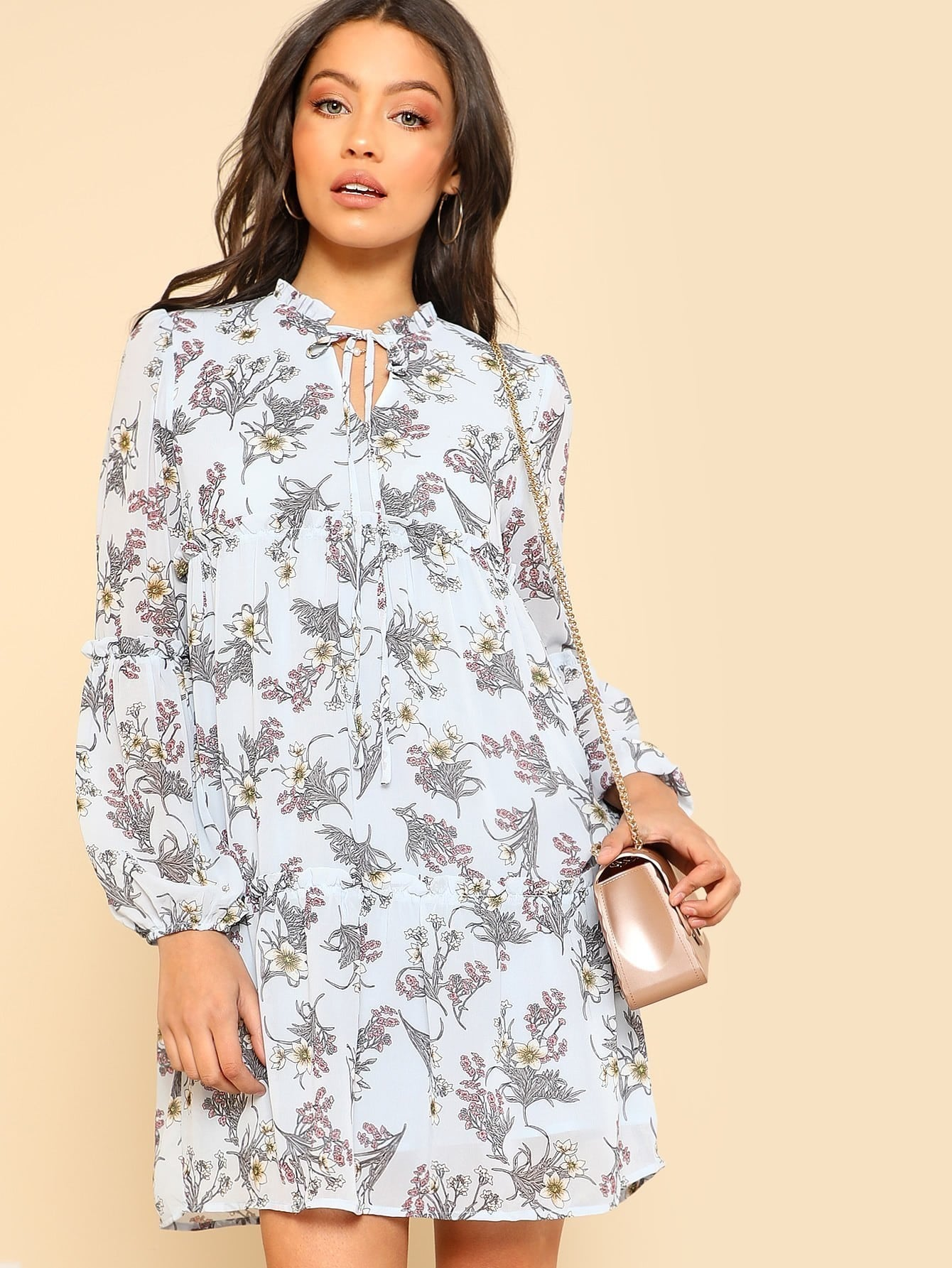 Frill Detail Botanical Dress frill layered pearl detail sweatshirt dress