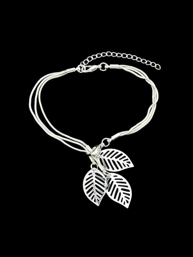 Silver Multi Layers Chain With Leaf Shape Charm Bracelets silver multi layers chain with leaf shape charm bracelets