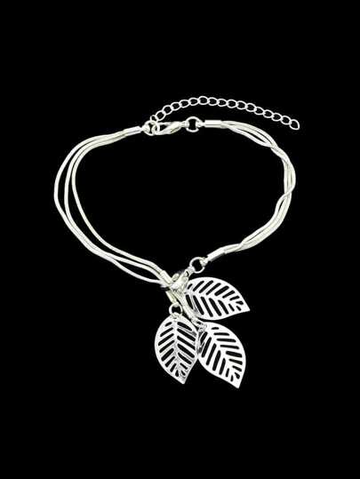 Silver Multi Layers Chain With Leaf Shape Charm Bracelets