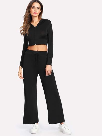 Zip Through Crop Hoodie With Pants