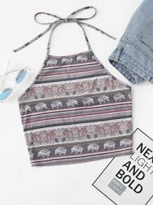Mixed Print Crop Halter Top