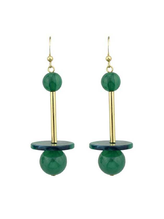 Green Beads And Long Metal Dangle Earrings For Women цена и фото