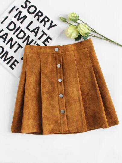 Suede Single Breasted Box Pleated Skirt