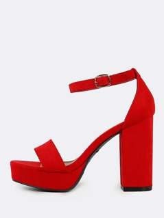 Faux Suede Ankle Strap Chunky Heels RED