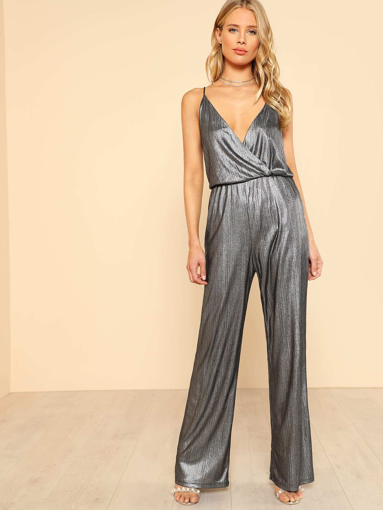 Metallic Glitter Surplice Wrap Cami Jumpsuit