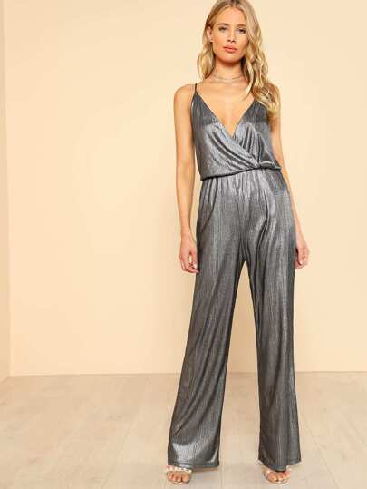 Metallic Glitter Surplice Wrap Cami Jumpsuit
