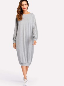 Pearl Beaded Raglan Marled Sweatshirt Dress