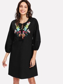 Tied Neck Embroidery Drop Shoulder Dress