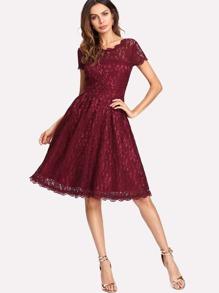 Button Front Lace Dress