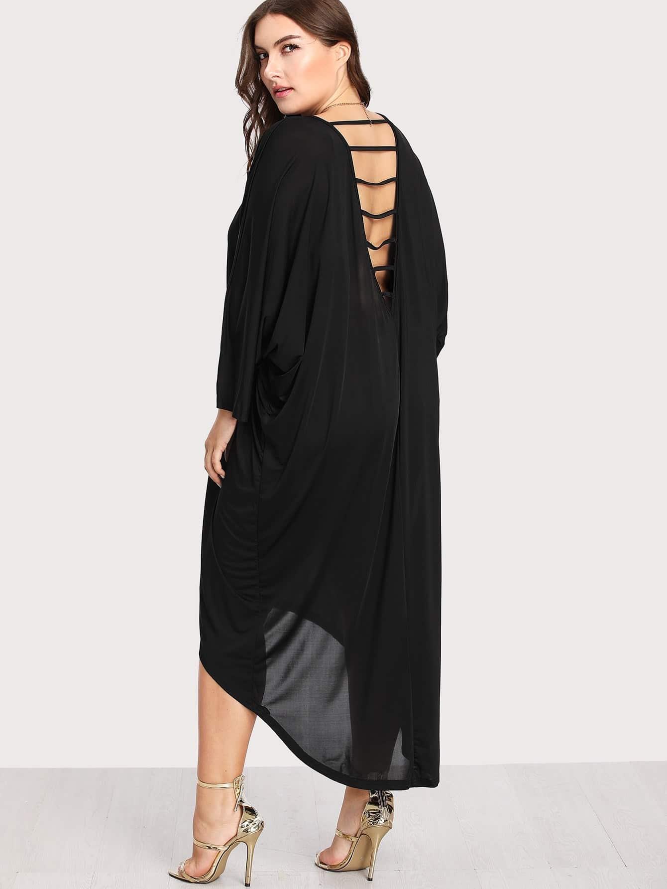 Plus Batwing Sleeve Dip Hem Dress
