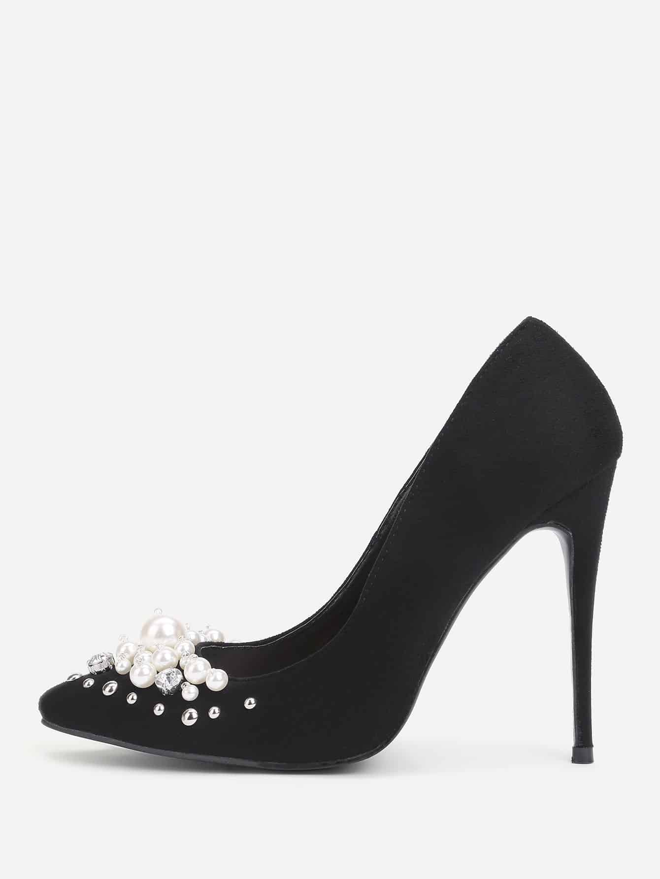 Faux Pearl Pointed Toe Stiletto Heels цена 2017