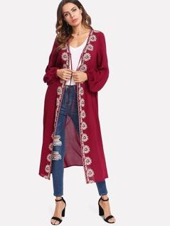 Bishop Sleeve Belted Embroidered Longline Kimono