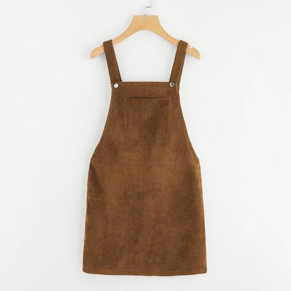 Pocket Front Overall Corduroy Dress, Brown