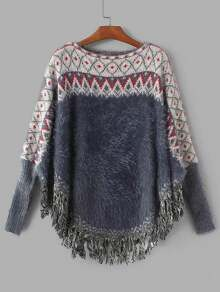 Geometric Pattern Fringe Hem Poncho Sweater