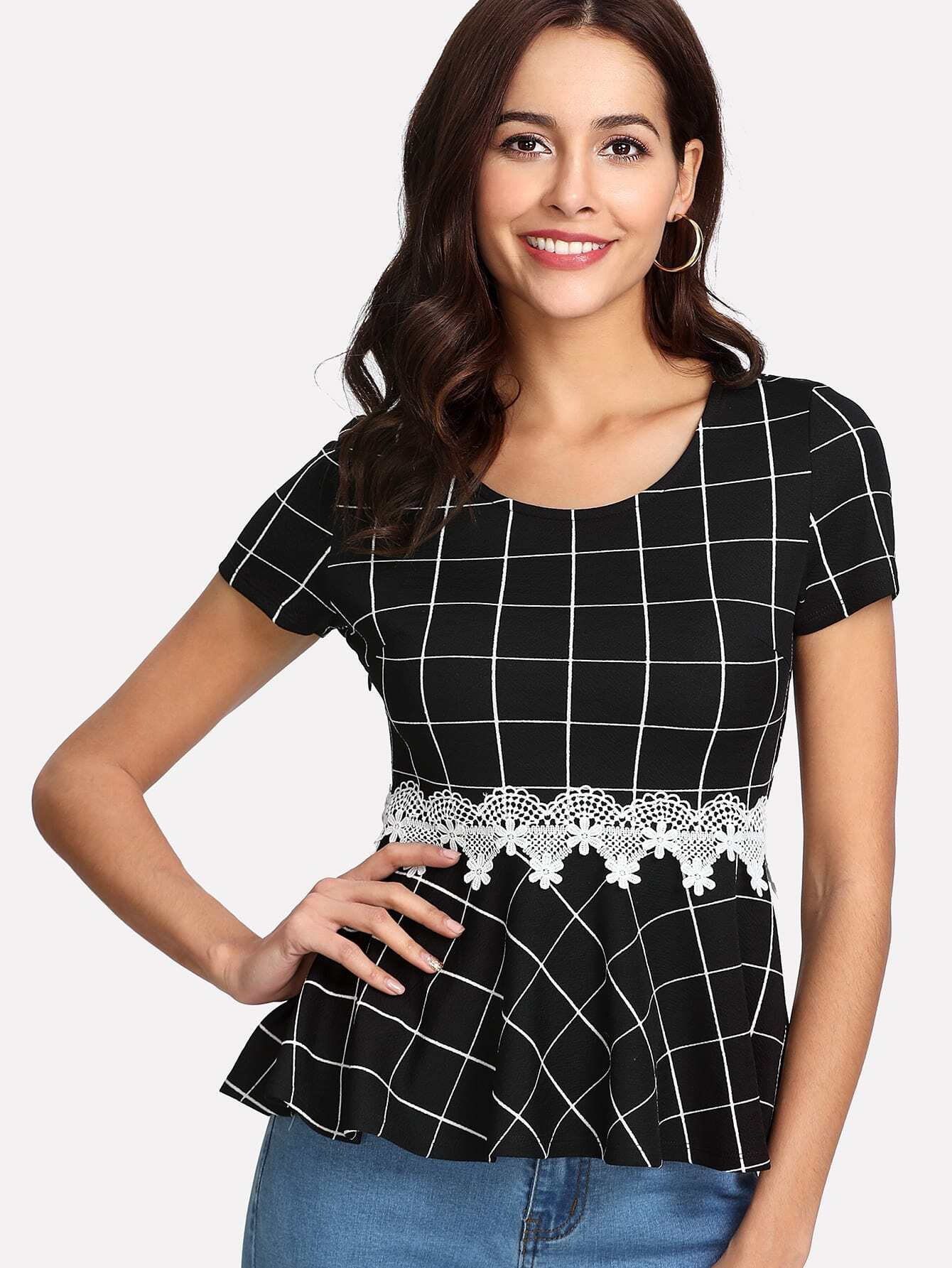 Lace Applique Grid Peplum Top contrast collar grid peplum top