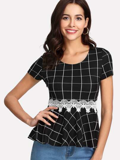 Lace Applique Grid Peplum Top