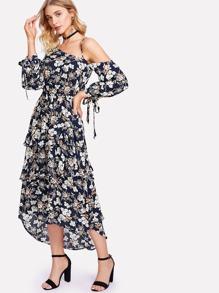 Asymmetric Shoulder Layered Ruffle Botanical Dress