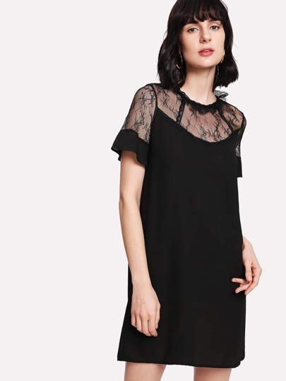 Frilled Neck Lace Shoulder Dress