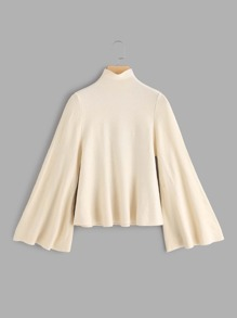 Mock Neck Bell Sleeve Jersey Jumper