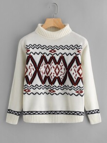 Geo Pattern High Neck Jumper