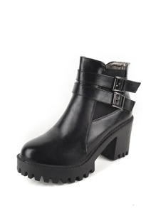 Double Buckle Side Round Toe Ankle Boots