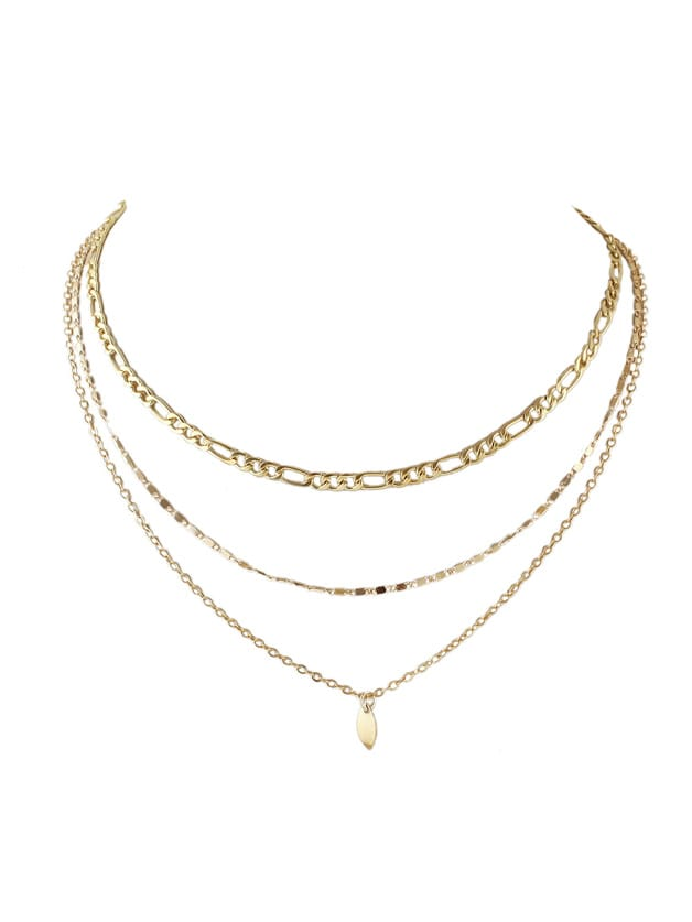 Gold 2Pcs/Set Multi Layer Chain Maxi Chain Necklace все цены
