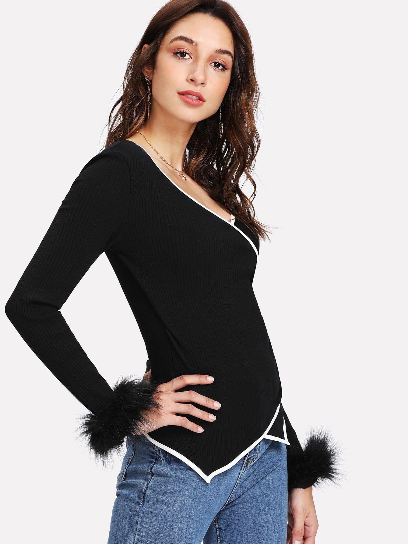 Faux Fur Cuff Contrast Binding Wrap T-shirt contrast faux fur cuff pullover