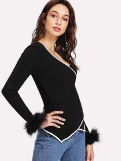 Faux Fur Cuff Contrast Binding Wrap T-shirt