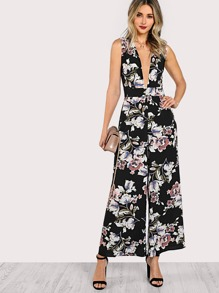 Plunge Neck Belted Sleeveless Palazzo Jumpsuit