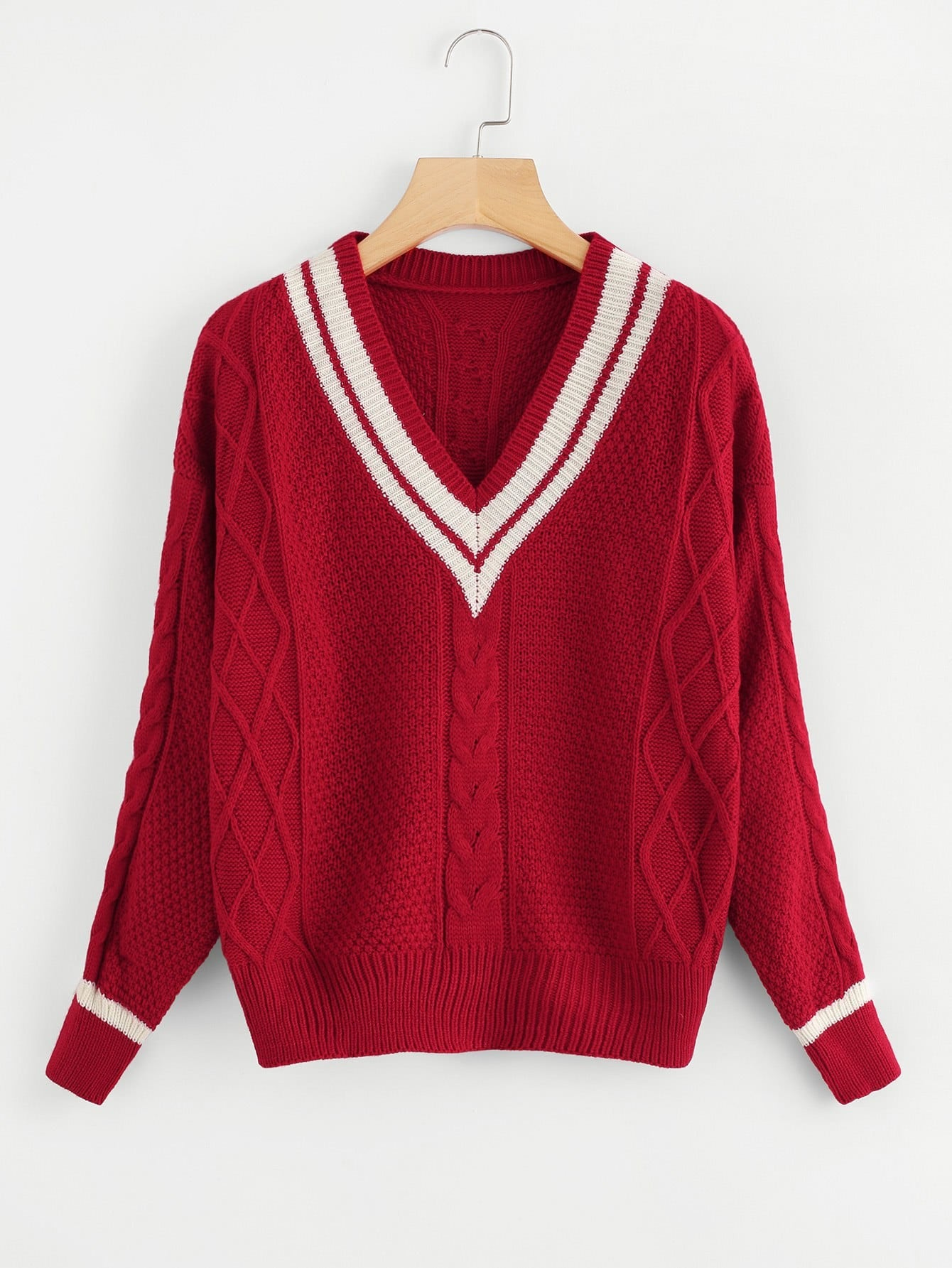 V Neckline Striped Trim Cable Knit Sweater cable knit a line sweater dress