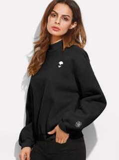 Mock Neck Drop Shoulder Embroidered Sweatshirt